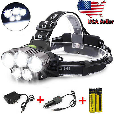 150000LM 5LED Headlamp Rechargeable 18650 Headlight Head Torch Lamp+Batt+Charger