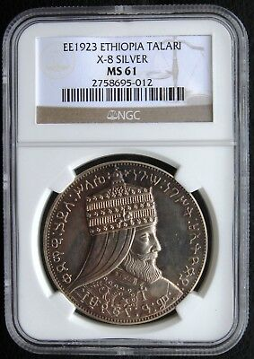 EE 1923 (1931) Ethiopia Talari X# 8 Silver Proof High Relief Lion MS61 Very Rare