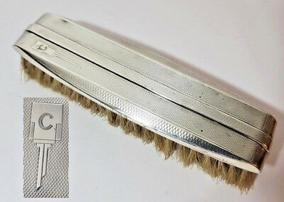 "Vintage Sterling Silver Art Deco Clothes Brush Initial Monogram ""C"" 1936"