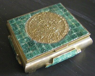 Vintage Brass & Turquoise? or Jade? Cigarette Box Aztec Calendar Made in Mexico