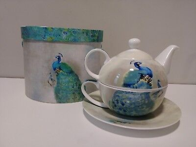 """TEA FOR ONE"" ppd Products Stackable PEACOCK ROYALE Teapot and Cup NIB"