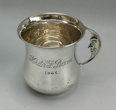 Vtg 1944 Lanson Ltd Solid Silver Man in the Moon Handled Christening Cup Mug 57g