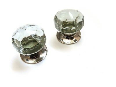 Pair Of Vintage Clear Cut Glass Door Handles With Chrome Fitting