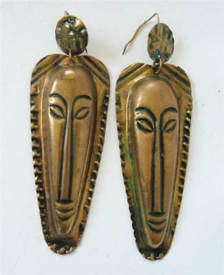 """Vintage Long Tribal Mask Earrings Stamped Brass 3 3/4"""" Gold tone Light Wire 80's"""