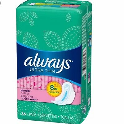 Always Ultra Thin Pads Slender Flexi Wings 36 Each ( Pack Of 2)