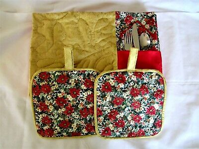 Hand Made Quilted Place Mat Set With Silverware Pocket 10 Piece # 4