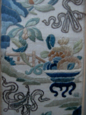 Chinese Qing Embroidered Silk Sleeve fragment 19th Century