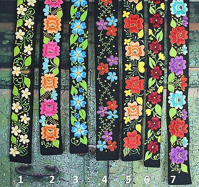 Black & Multi-Color Floral Embroidered Wide Belts Mexico Hippie Boho Peasant