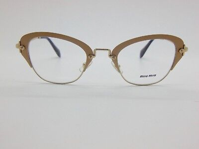 640884b14ff5 NEW Authentic MIU MIU VMU 53O UFZ-1O1 Matte Ivory Gold 50mm Rx Eyeglasses