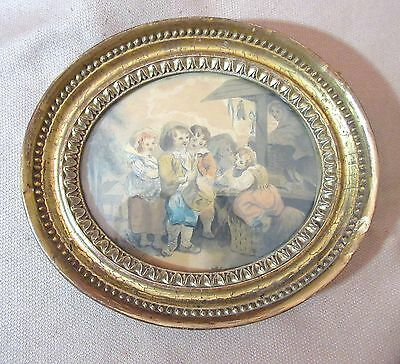antique 1800 original figural children playing music watercolor painting drawing