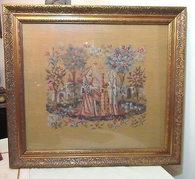 LARGE antique hand made embroidered figural Victorian needlepoint tapestry art