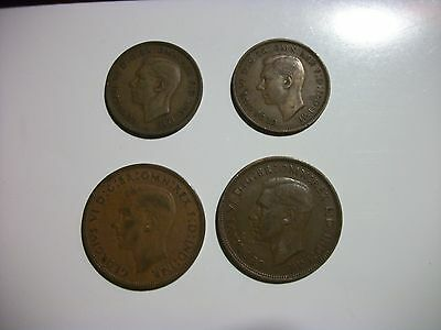 Great Britain 1/2 Penny 1 Penny 1947-1948 Set of 4 bronze coins