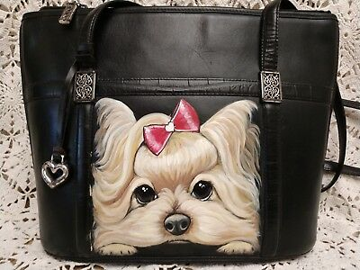 Yorkie Hand Painted Shoulder Bag Leather Brighton Purse artist original large