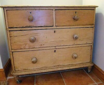 Vintage Original Rustic Pine 2 On 2 Chest Of Drawers. Farmhouse Kitchen/bedroom
