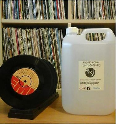 """5L Vinyl Record Cleaning Fluid + Free 3 Plastic Record Sleeves 12"""" ( Knosti ).."""