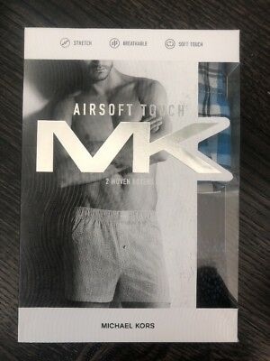 Michael Kors MK Mens Boxers 2 Pack - Airsoft Touch Woven Cotton - Size S M L XL
