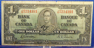 CANADA 1 dollar 1937 Gordon-Towers Prefix J/M #39