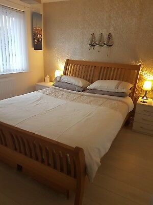 Solid oak double sleigh bed with 4 storage drawers under, no mattress Inc
