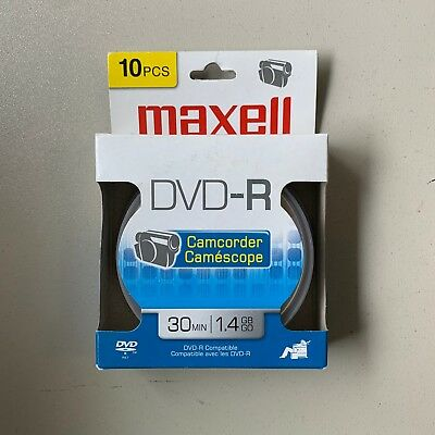 Maxell DVD-R, Compatible, Camcorder, 30 Minutes 1.4 GB - Pack of 10 NEW/SEALED
