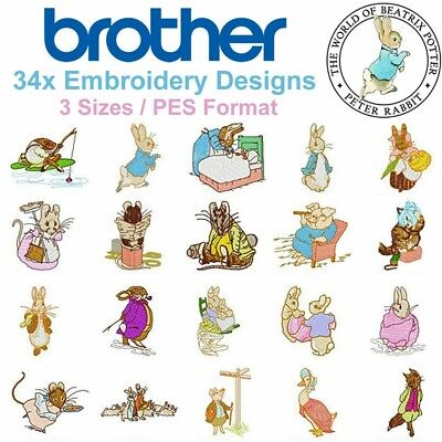 Peter Rabbit Machine Embroidery Designs (PES / Brother Format) 34 Designs