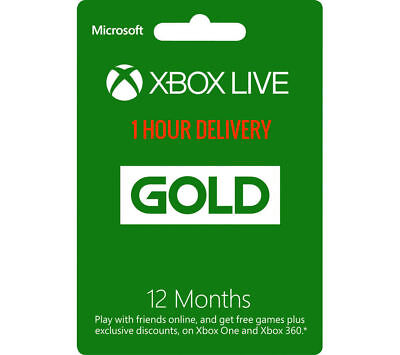 Microsoft 12 month Xbox live gold membership  for xbox one/xbox 360 (U.S)