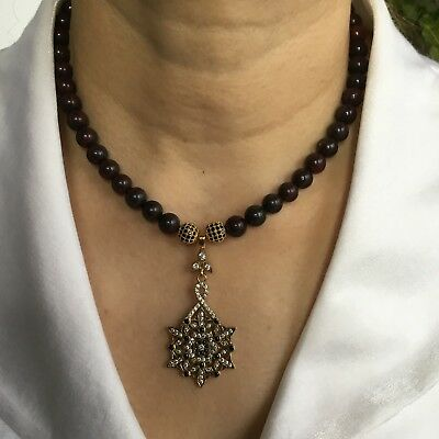 Vintage natural dark blood stone necklace & superb Topaz Onyx rust proof pendant