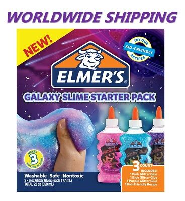 Elmer's Galaxy Slime Starter Pack Pink Blue & Purple WORLDWIDE SHIPPING