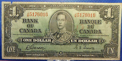 CANADA 1 dollar 1937 Gordon-Towers Prefix J/M #49