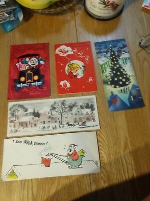 Vintage Christmas Card Unused lot of 5 cards  Santa, gurl, town square