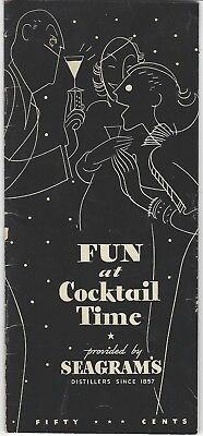 1934 Fun at Cocktail Time Seagrams Recipes Booklet Liquor Ads Magic Tricks Deco