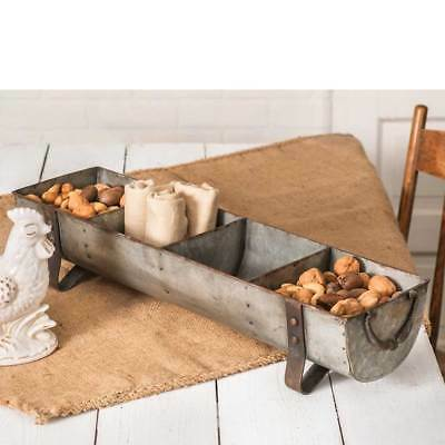 Rustic 4 Compartment Chicken Feeder Primitive Divided Trough Country Farmhouse