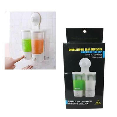 Double Wall Mount Bathroom Shower Shampoo Pump Soap Liquid Dispenser