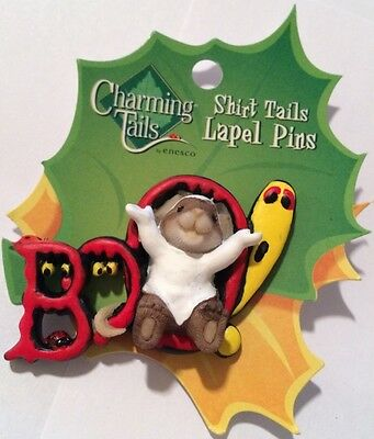 Charming Tails HALLOWEEN MOUSE BOO!! Lapel Pin Few Left RETIRED