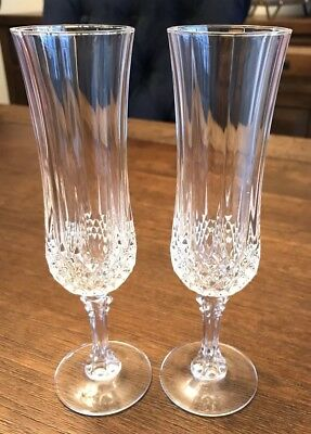 Cristal D'Arques 2 Longchamp French Crystal Flutes Champagne Glasses 4 1/4 Oz