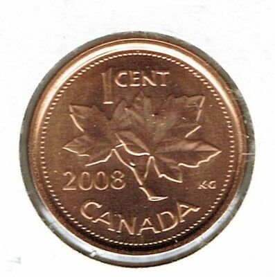 2008 Canadian Brilliant Uncirculated One Cent Elizabeth II Coin!
