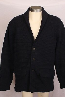 Barbour for Land Rover 100% Wool Blue Shawl Collar Cardigan Sweater Mens XL