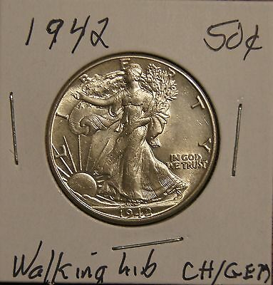 1942 Walking Liberty Half Dollar-Choice To Gem Brilliantly Uncirculated (Inv D)