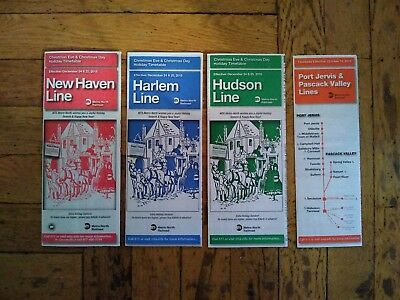 Lot of 4 Metro-North Railroad Christmas Timetables