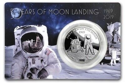 2019 Barbados 1 oz .999 Silver 50th First Man On The Moon Proof Only 1969 Exist