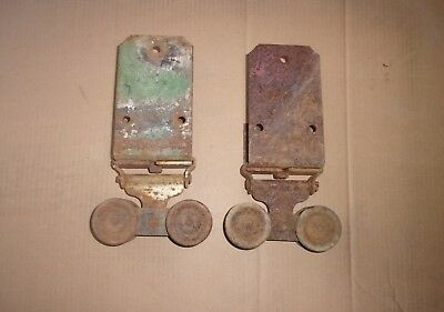 Pair Antique Barn Garage Door Hangers Rollers - Vintage Architectural Hardware