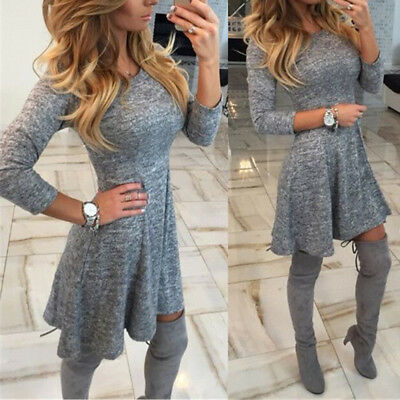 Bodycon Dress Knitted Jumper Sweater Women's Clothing Casual Round Neck Winter