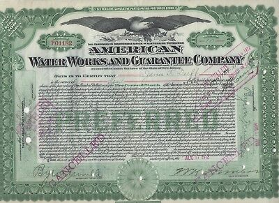 """""""rare"""" - American Water Works And Guarantee Co. - Green Stock Certificate - 1912"""