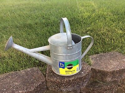 """Vintage """"Miracle Grow"""" galvanized watering can"""
