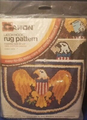 Vintage Caron Latch Hook Cotton Canvas Eagle #3019 Rug Pattern Brand New Sealed