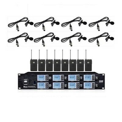 8 channel Wireless Vocal Microphone System Lavalier Lapel Microphone For karaoke