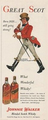 1953 Johnnie Walker Red & Black Label Scotch 1950s What Wonderful Whisky Ad