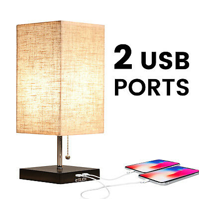 Bedside Table Lamp with USB Port Pull Chain Nightstand Desk Lamp Fabric Shade
