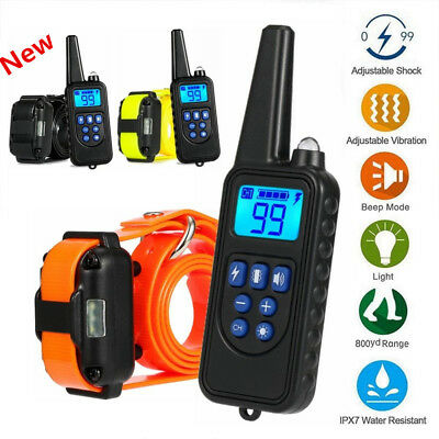 Waterproof Electric Dog Shock Training Collar 875 Yard Remote IP67 Rechargeable