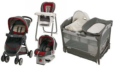 Graco Baby Stroller with Car Seat Infant High Chair Playard Crib Travel System