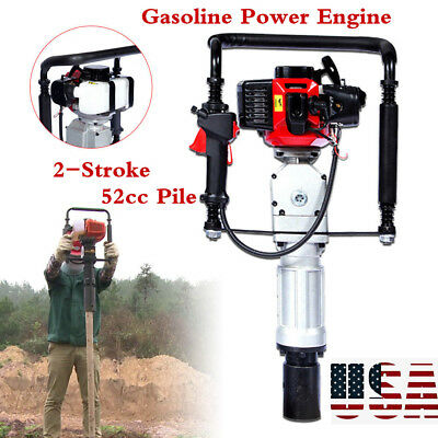 2Stroke 52cc Gasoline Petrol Post Driver Pile Engine Garden Fence Tool Air Cool